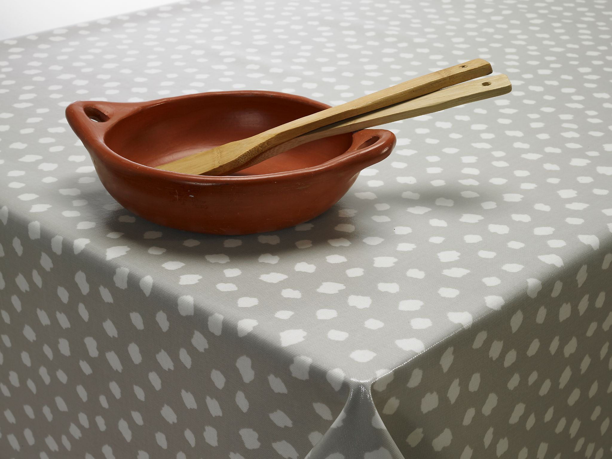 Light Grey Popcorn PVC Oilcloth Wipeclean Tablecloth | Nifty