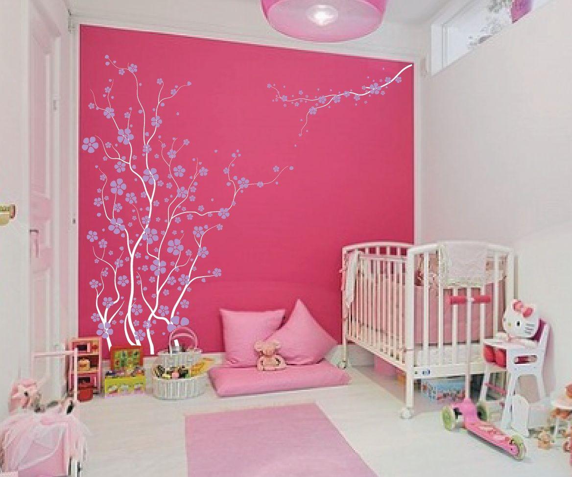 Japanese Cherry Blossom Tree With Lilac Blossoms Nursery 1121 Jpg Girl Nursery Wall Girl Nursery Colors Baby Girl Nursery Colors