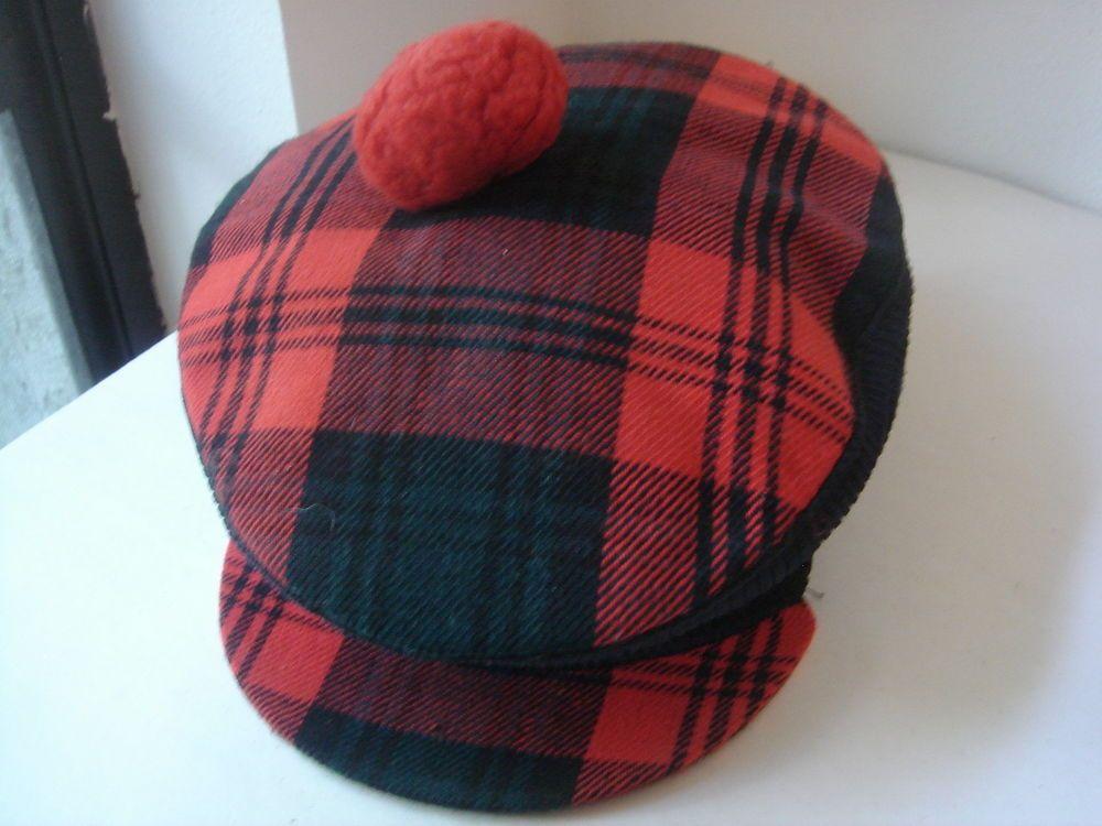 93aae95aee1 Scotish plaid mens tam. Pom pom tam vintage. Golf hat or scotish tam. Very  unique hat