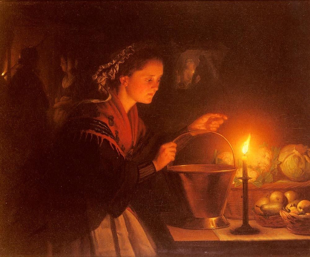 Candle Light Painting A Market Scene By Candlelight Painting Petrus Van Schendel Oil