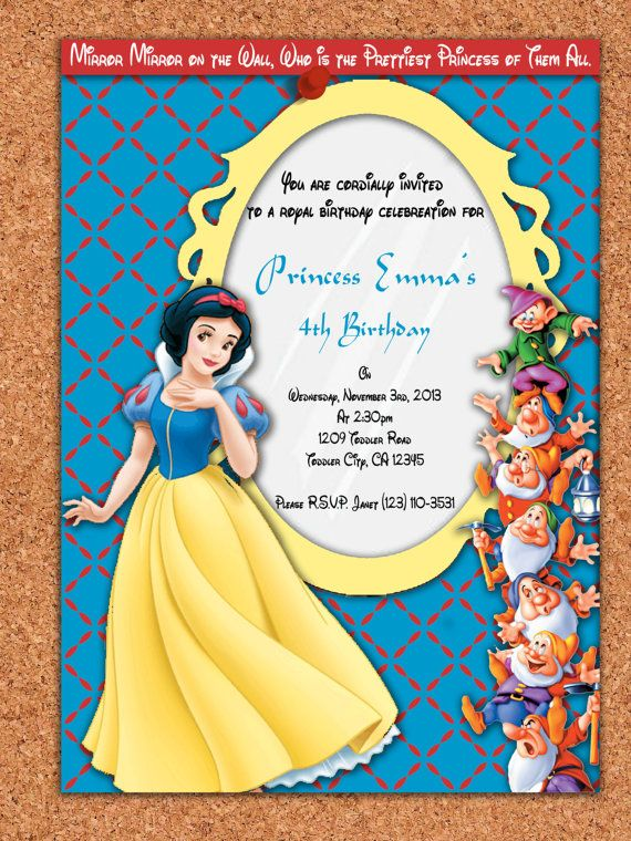 photo about Snow White Invitations Printable named PRINTABLE INVITATION, Snow White and the 7 Dwarfs