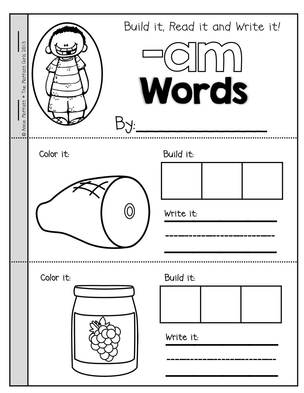 The Moffatt Girls Cvc Booklets Build It Read It Write It Cvc Words Word Family Activities Words [ 1325 x 1024 Pixel ]
