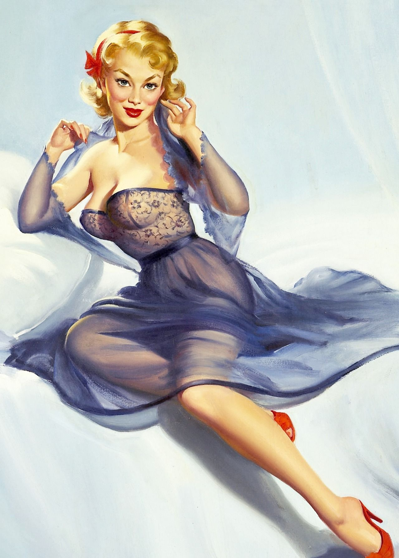 "bdb8a9270 "" Blonde with Purple Negligee   Red Shoes by Harry Ekman"