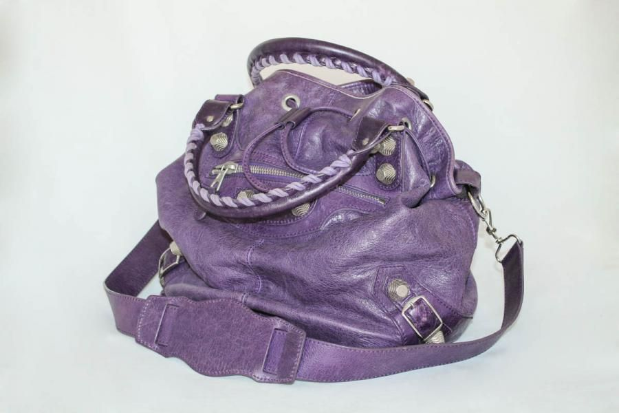 918ae5387d Balenciaga Large Genuine Leather Pompon Bag In Purple