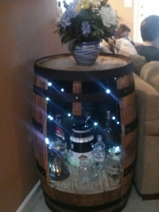 Whiskey Barrel End Table Led Lights Added And Put
