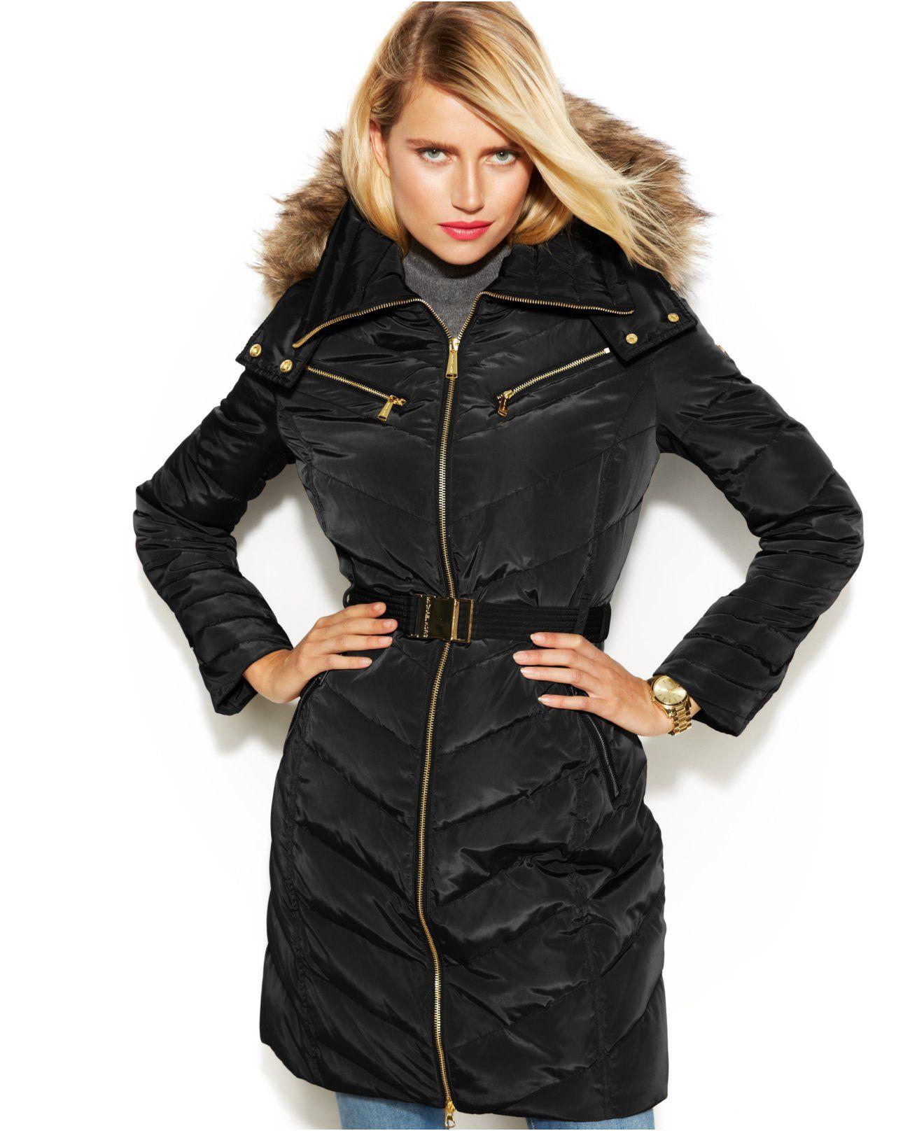 d41e275aab2 MICHAEL Michael Kors Petite Hooded Faux-Fur-Trim Belted Down Puffer Coat -  Coats - Women - Macy s
