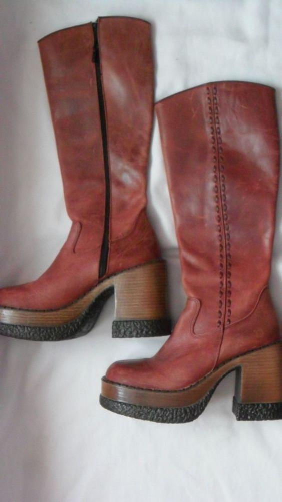 LONDON UNDERGROUND Red/Dark Pink Distressed Leather Platform Knee-High Boots 7   #PlatformsWedges