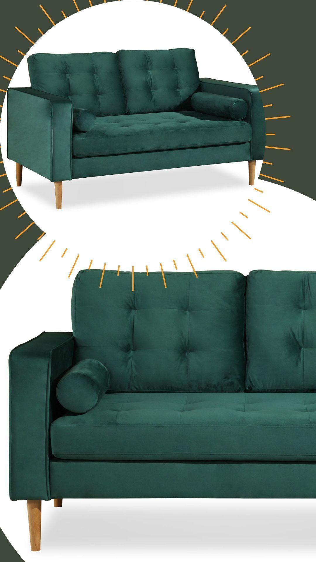 Glammy 2 Sitzer Sofa Mit Samtbezug Fusse Buche Massiv Sofa 2 Sitzer Sofa 2er Sofa