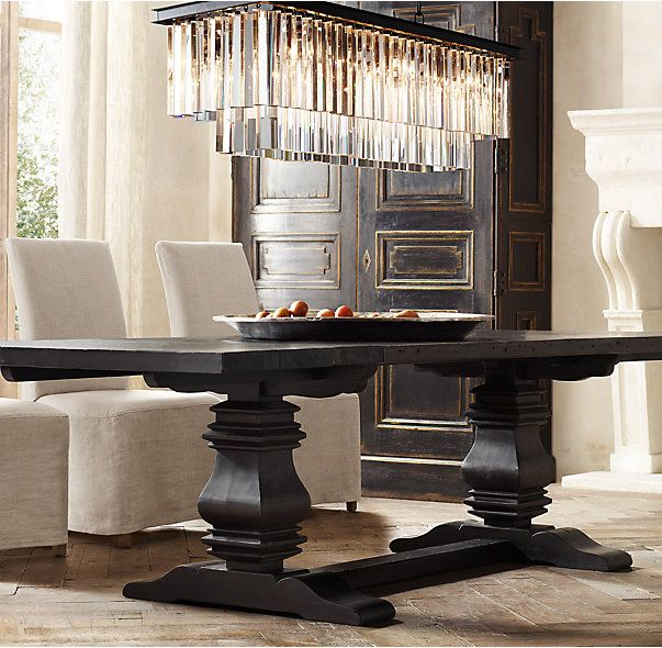 Salvaged Wood Trestle Rectangular Extension Dining Table Restoration Hardware Dining Room Dining Room Chandelier Farmhouse Dining Room