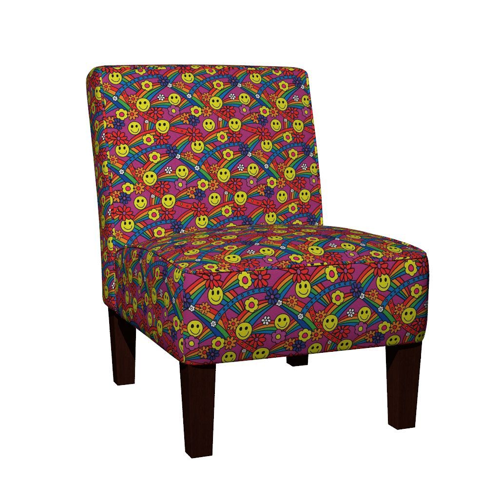 Maran Slipper Chair featuring Rainbow Smiley Hippie Pattern by hippygiftshop | Roostery Home Decor