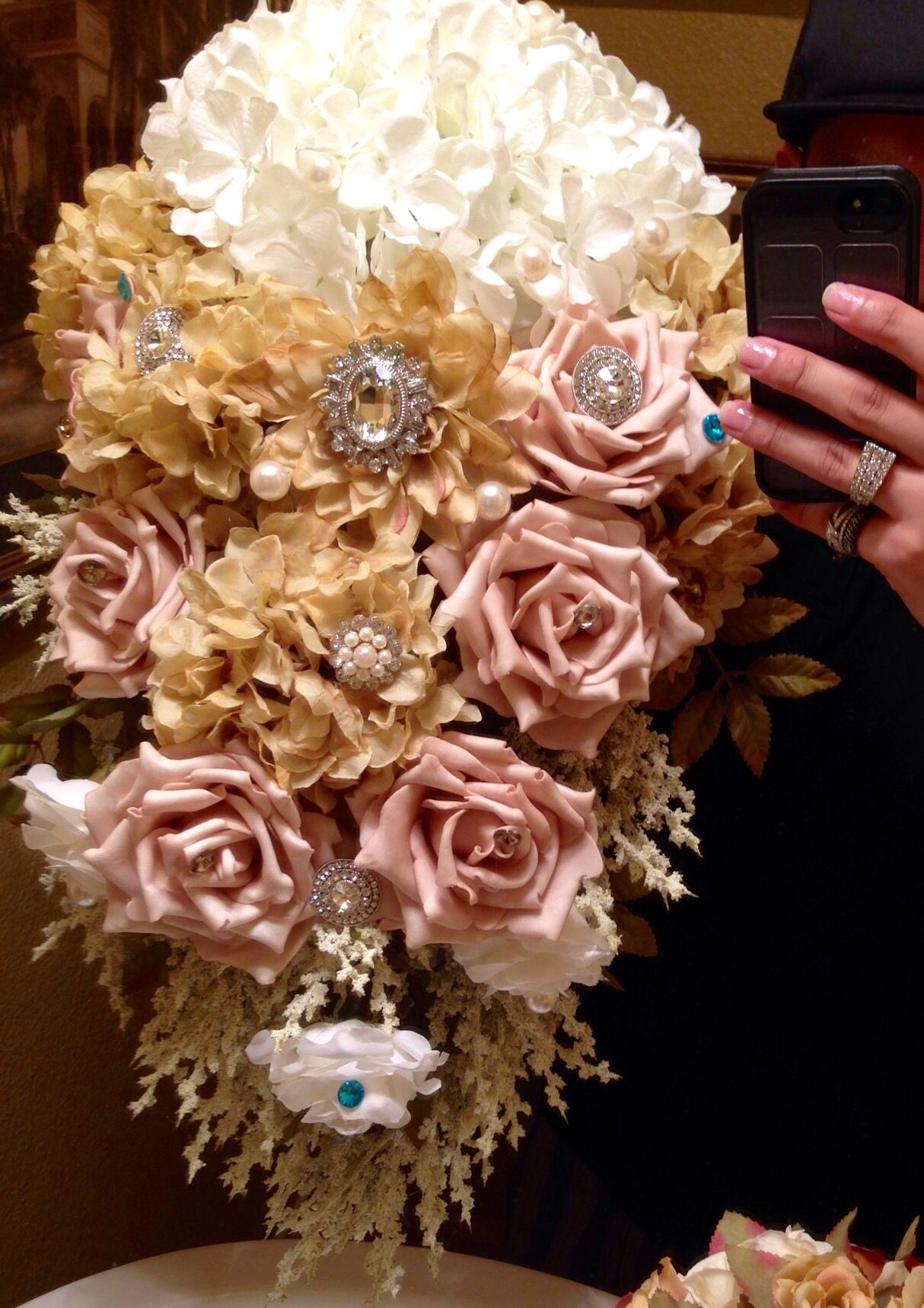 Quinceanera bridal rhinestone cascading brooch silk floral bouquet quinceanera bridal rhinestone cascading brooch silk floral bouquetdiy big bold and beautiful for a client izmirmasajfo