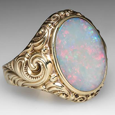 This Bold Vintage Mens Opal Ring Is Crafted Of Solid 9k Yellow Gold