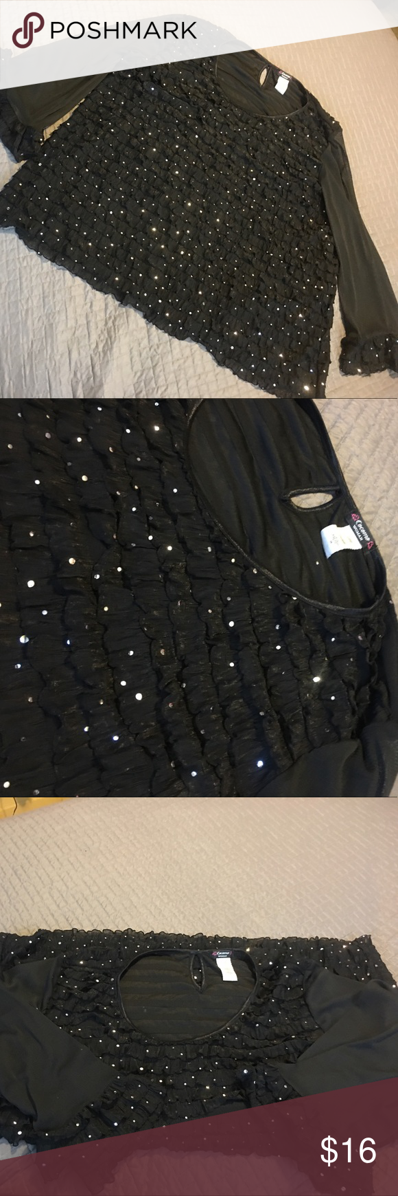 Black Sparkly Party Shirt Black Sparkly Party Shirt. Size 3x So very  cute and fun for that night out or office party. Pair it with a black or Silver skirt and your ready❤ Cocomo Woman Tops Blouses
