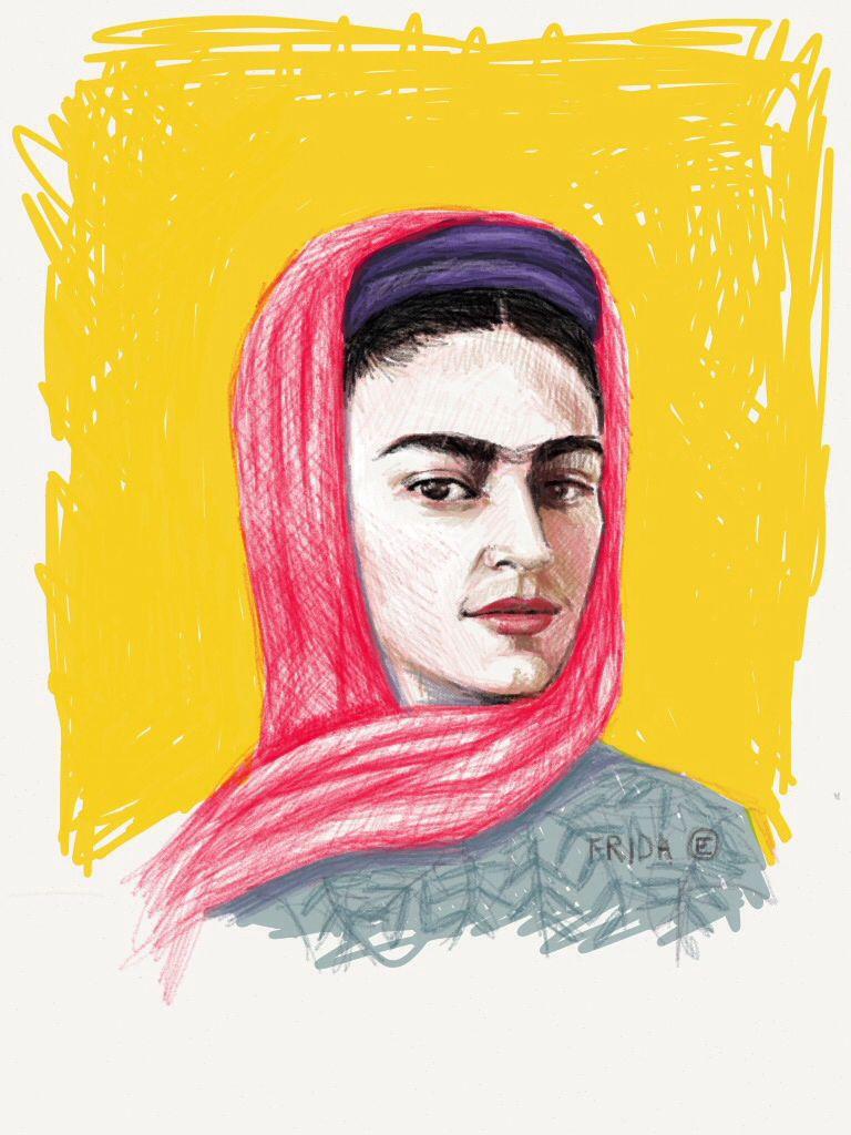 Frida on Yellow by #blueshineart #madewithpaper and my #adonit stylus #jottouch #fridaart#fridakahlo#portrait#artist#ipadart#digitalart