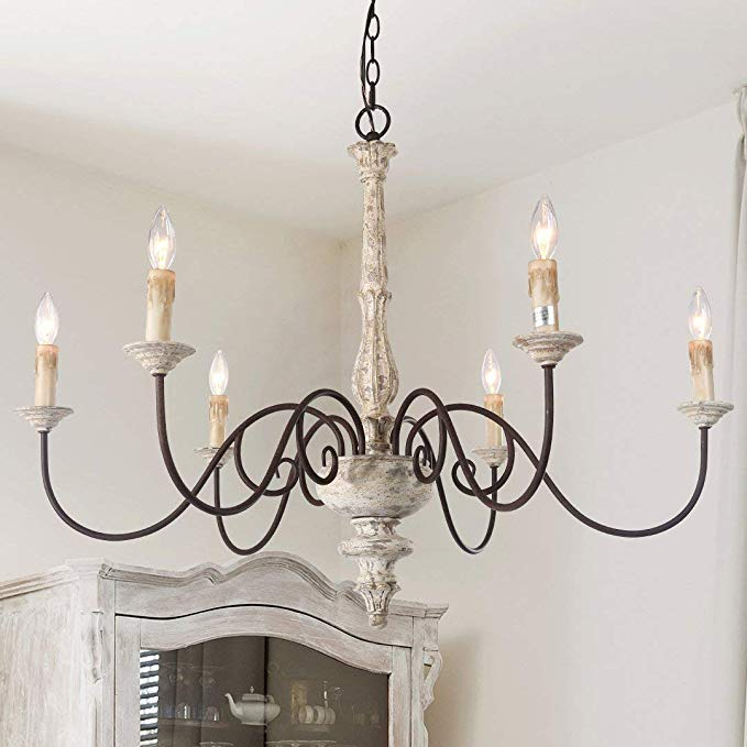 LALUZ French Country Chandelier Farmhouse Handmade Wood Rustic 6 Light Fixture for Dining & Living Room, Bedroom, Kitchen and Bathroom, Distressed