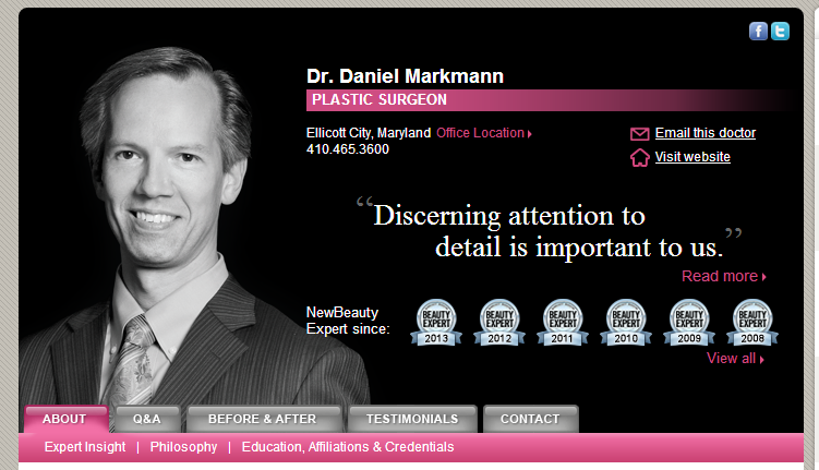 Check Out Dr. Markmannu0027s NEW BEAUTY Profile! Http://www.newbeauty