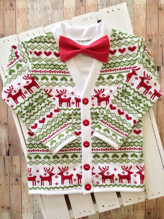 a7774e40a260 Christmas Holiday Baby Preppy Cardigan Bow Tie Set  Red Reindeer ...