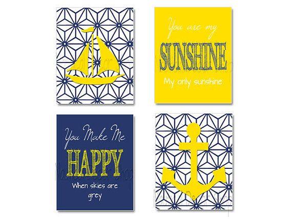 Yellow Navy Nursery, Nautical Nursery Art, You Are My Sunshine Art ...