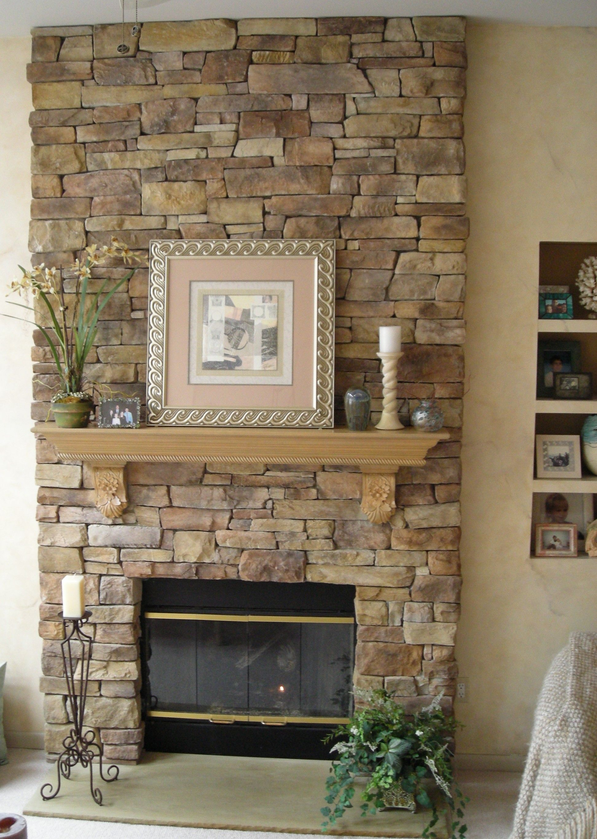 l mantel faux fireplace and stacked with surround shelves surrounds stone