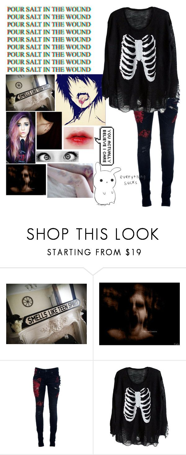"""""""Everything sucks//16:00"""" by maddhatterx ❤ liked on Polyvore featuring L.G.B."""
