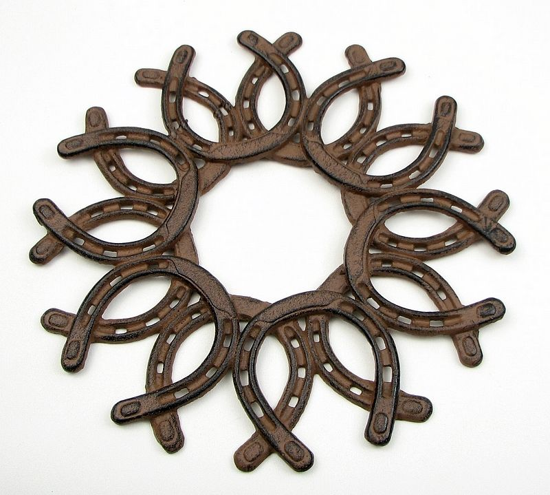 LARGE CAST IRON  Horseshoe Wreath Western Wall Decor Indoor Outdoor Patio  NEW | EBay