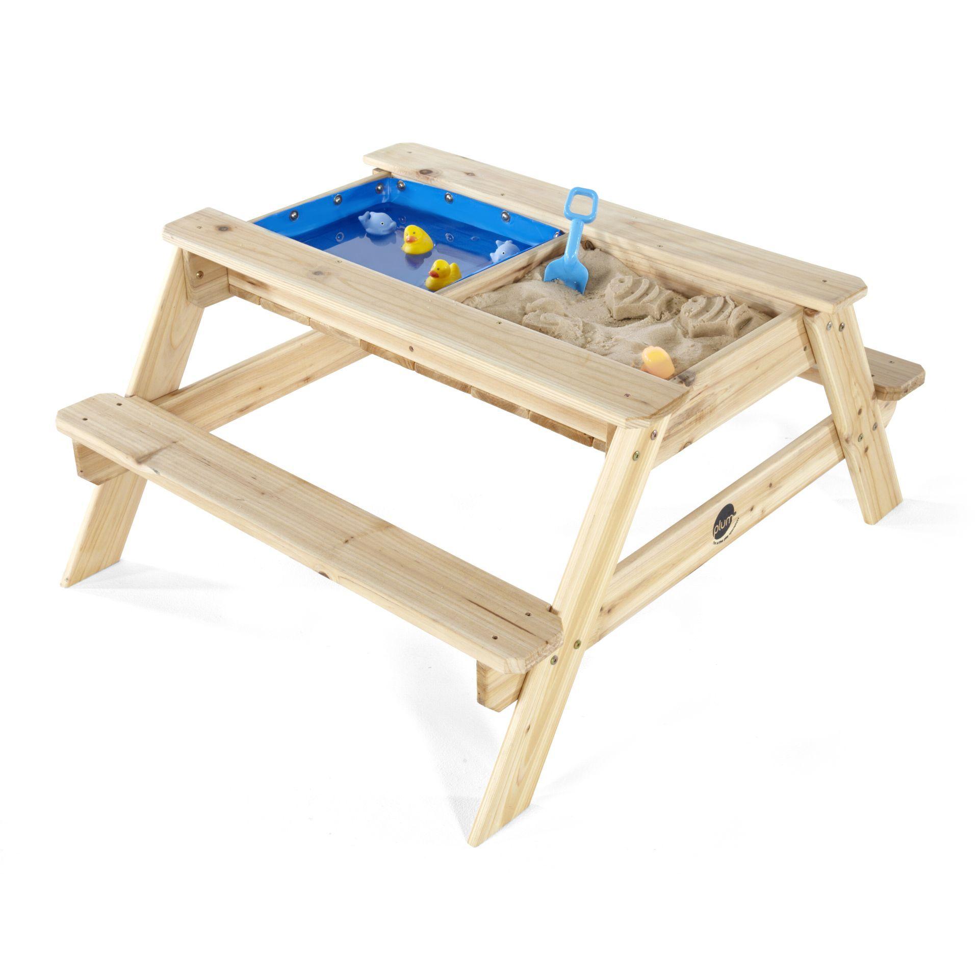 picknicktisch f r kinder mit sandkasten und wasserbecken. Black Bedroom Furniture Sets. Home Design Ideas