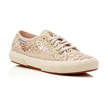 Cotropew Crochet Lace Up Sneakers by Superga. Superga Cotropew Crochet Lace Up Sneakers-Shoes
