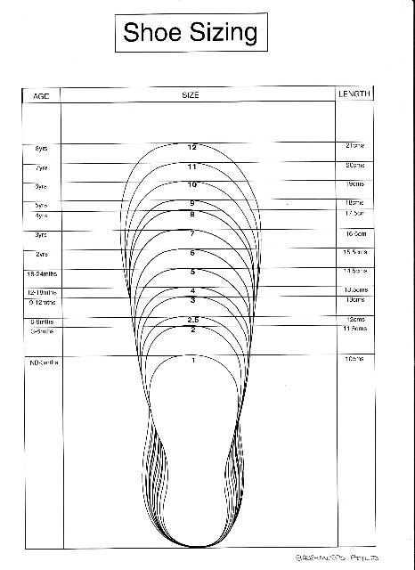 Baby Size Chart Template Shoes Measurement Chart For Printable Adult (men  And Woman) Shoes