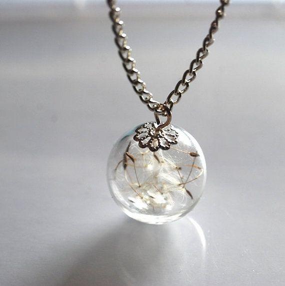 dandelion resin sphere pendant dandelion wish necklace Dandelion necklace on a silver chain