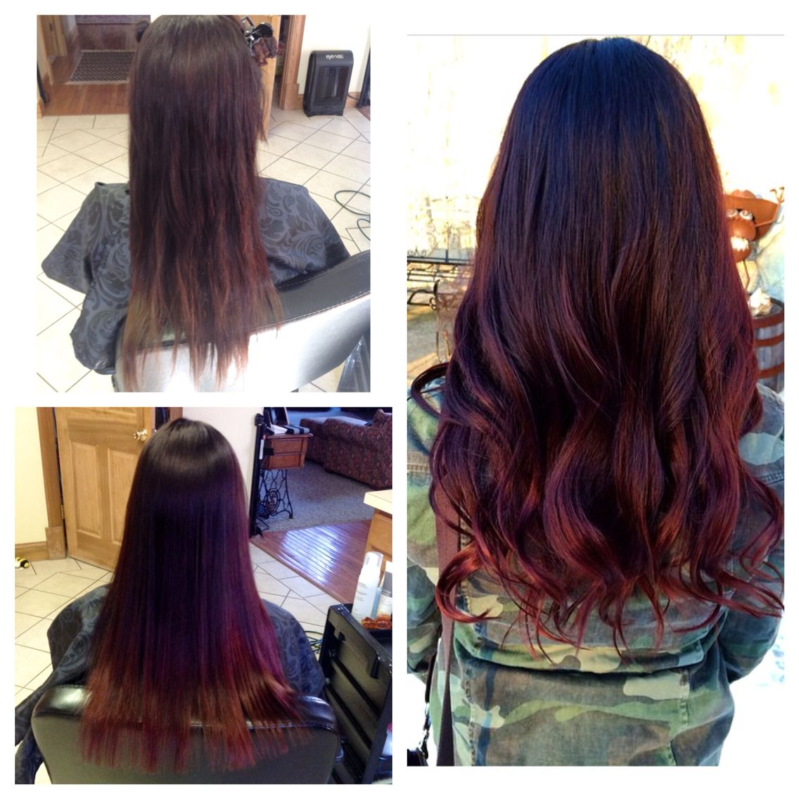 Top Left:before Red Ombré Done By: Miranda Day