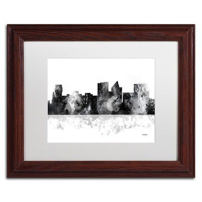 "Trademark Art ""Wichita Kansas Skyline BG-1"" by Marlene Watson Matted Framed Graphic Art Size: 16"" H x 20"" W x 0.5"" D, Frame Color: Brown"
