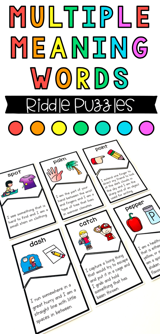 Multiple Meaning Words {Riddle Puzzles} Word riddles