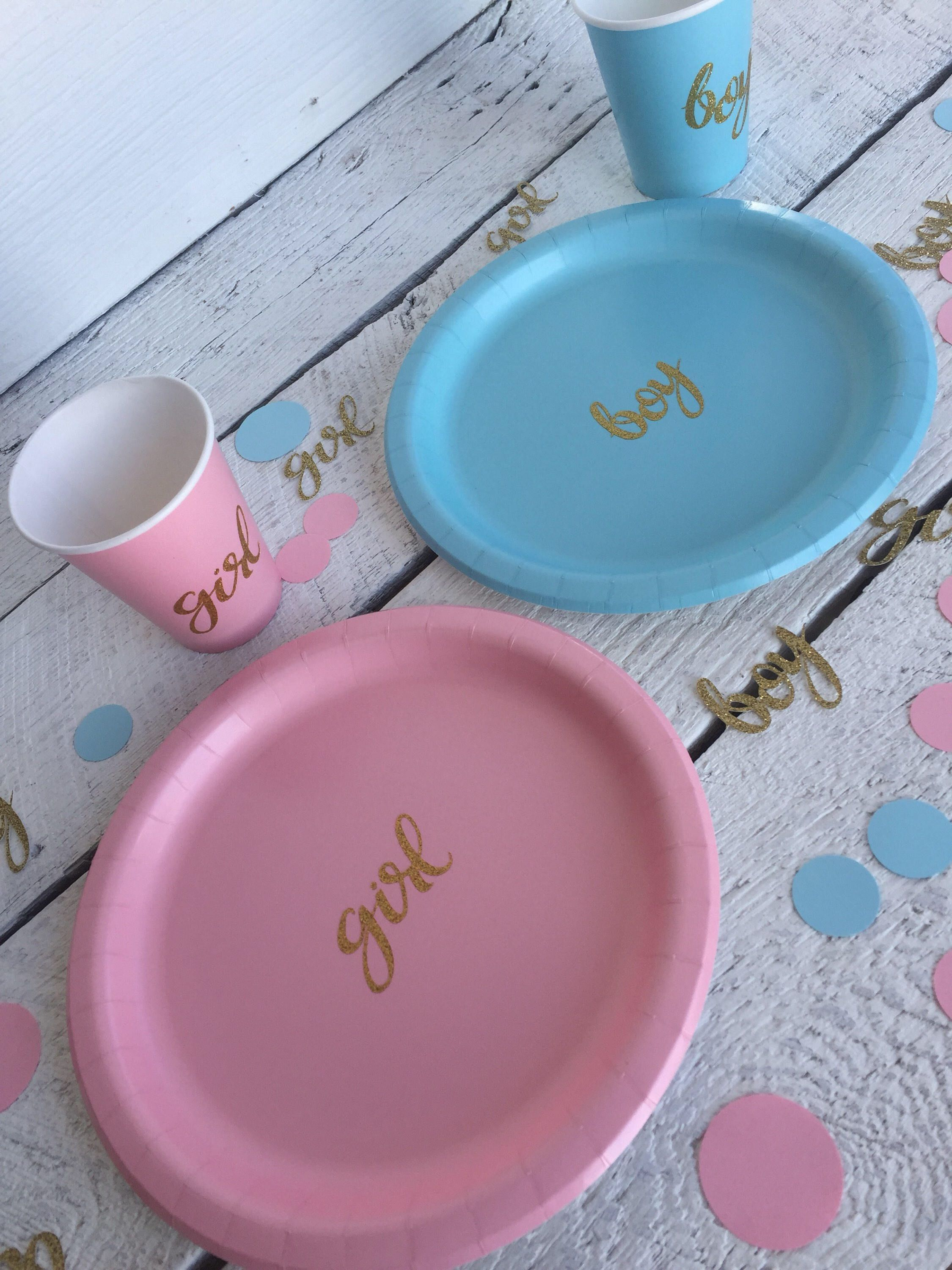 Gender Reveal Party Or Baby Shower Cups Plates And Napkins Boy Or