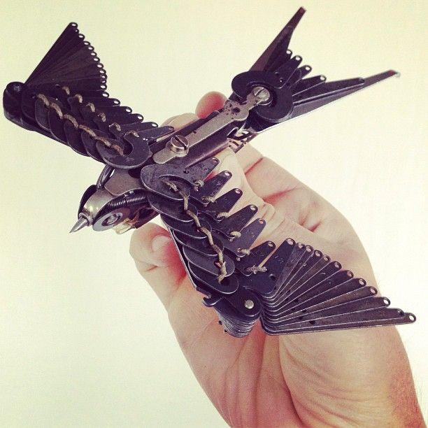 A bird made of typewriter parts. So cool.