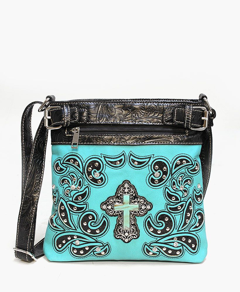Turquoise Cross Western Crossbody Bag