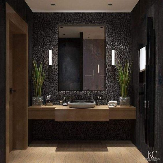 Photo of Use of black color in bathroom decorations