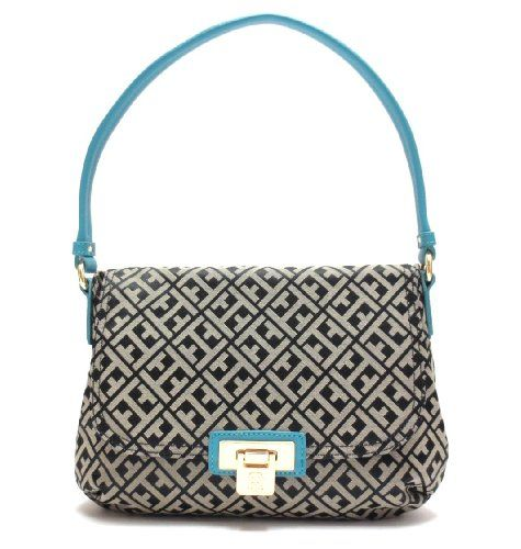 Tommy Hilfiger Signature Shoulder Bag with Saffiano Leather Trim in Black / Turquoise