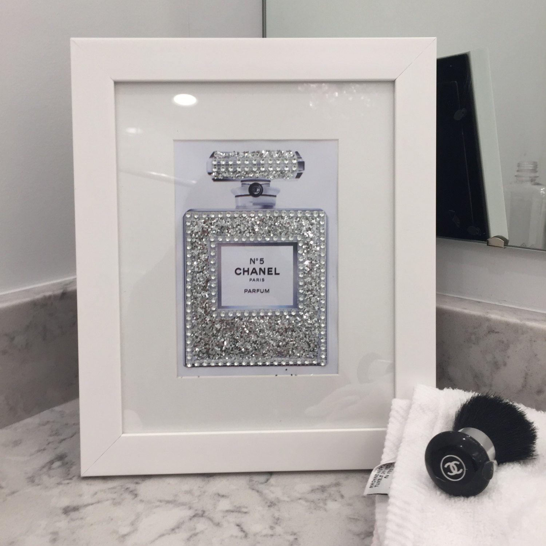 White Framed Chanel No. 5 Sparkling Glitter Rhinestone Crystals Art Vanity  Print By PrintcessCharming On