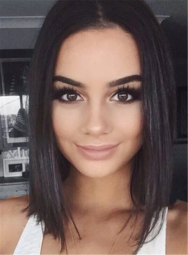 Med Length Bob Hairstyle Lace Front Cap Straight Synthetic Hair Women Wigsiu In 2020 Straight Bob Hairstyles Shoulder Hair Bob Hairstyles
