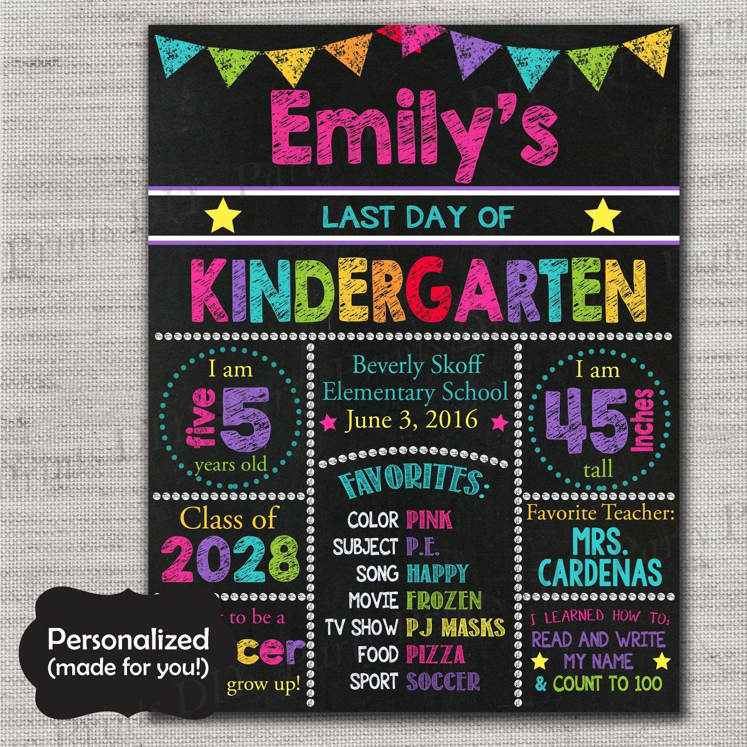 Personalized First day and Last Day of School Sign