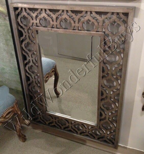 "Antique Wall Mirrors fretwork cut metal wall mirror antique silver 40""h moroccan"