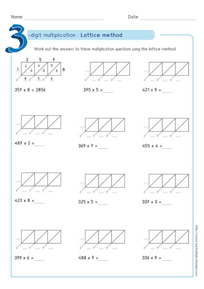 Image Result For Lattice Multiplication Worksheets 3 By 1 Multiplication Lattice Multiplication Multiplication Worksheets