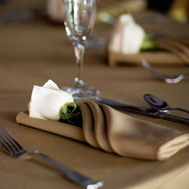 Fall Wedding Inspiration A Single Rose Tucked Into The Napkin