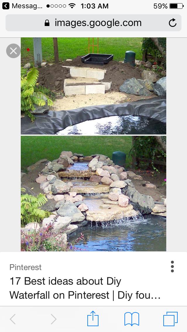 Selbstgemachter Wasserfall, Garten Wasserfall, Hinterhofprojekte,  Gartenprojekte, Teichlandschafts, Garten Wasserfälle, Teich Ideen,  Gartenbrunnen