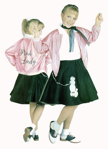 Pink Lady Budget Youth Costume Outfit Includes Poodle Skirt Jacket Scarf