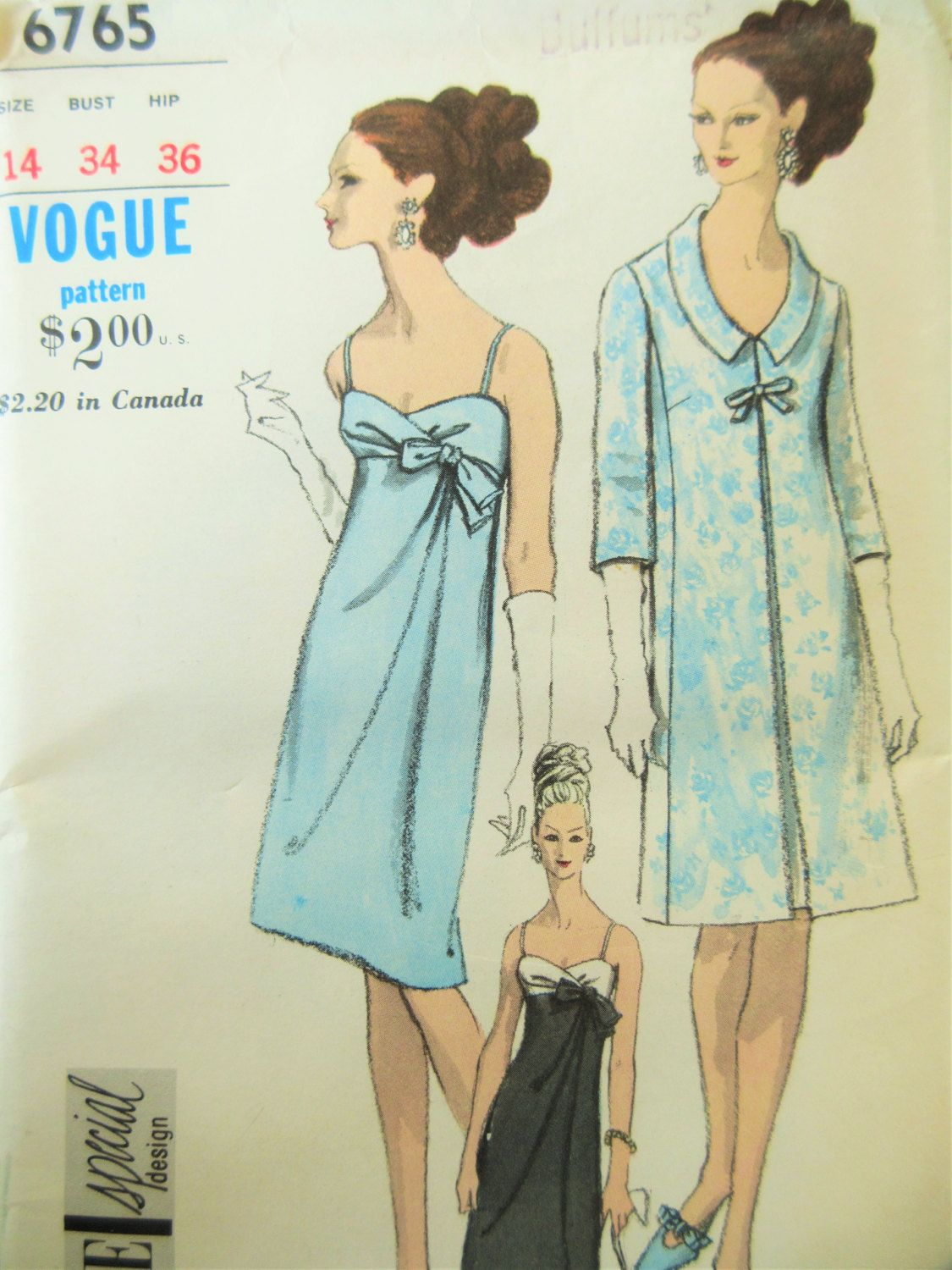 Vintage Vogue 6765 Sewing Pattern, Empire Waist Evening Dress ...
