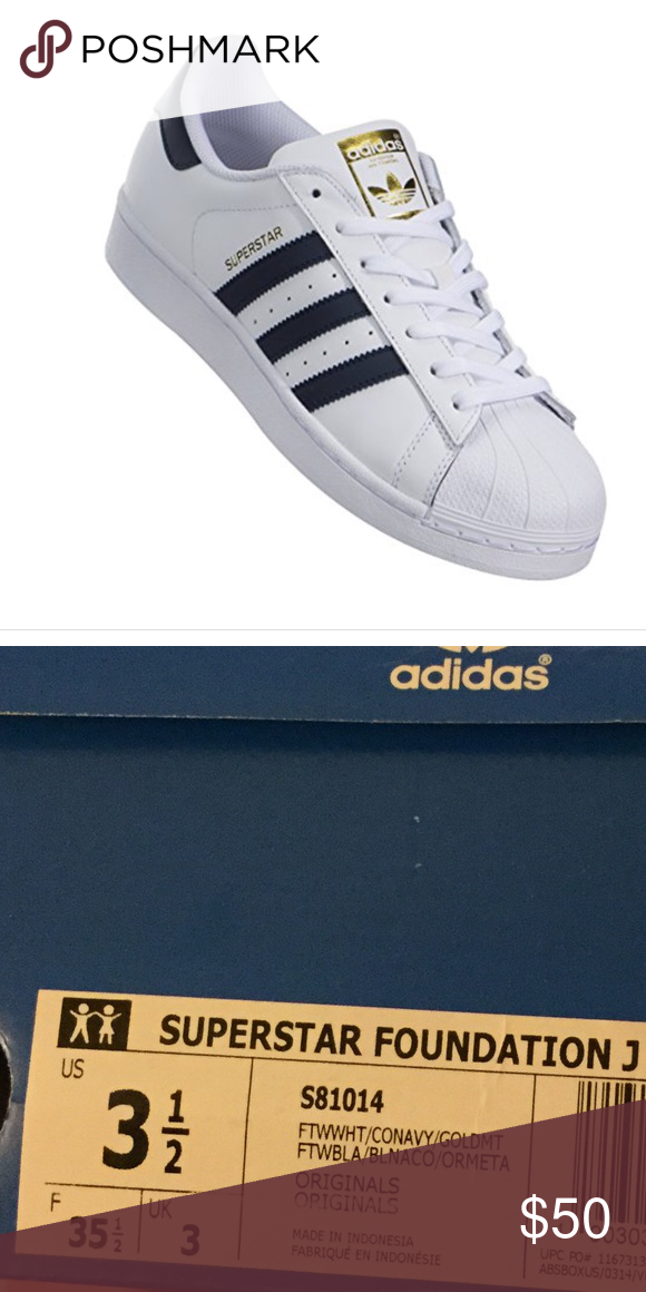 277c2d975e New Adidas White Navy Gold Superstar shoes. 3 1 2 NEW IN BOX - Adidas  white navy gold kids Superstar tennis shoes. adidas Shoes Sneakers
