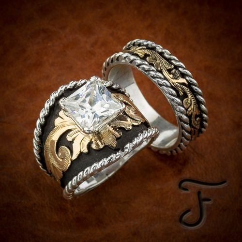 Buckle western inspired wedding band set ring cowboy Fanning