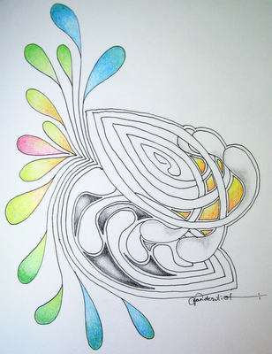 a medias | ZENTANGLES | Pinterest | Doodle, Zentangle y Mandalas
