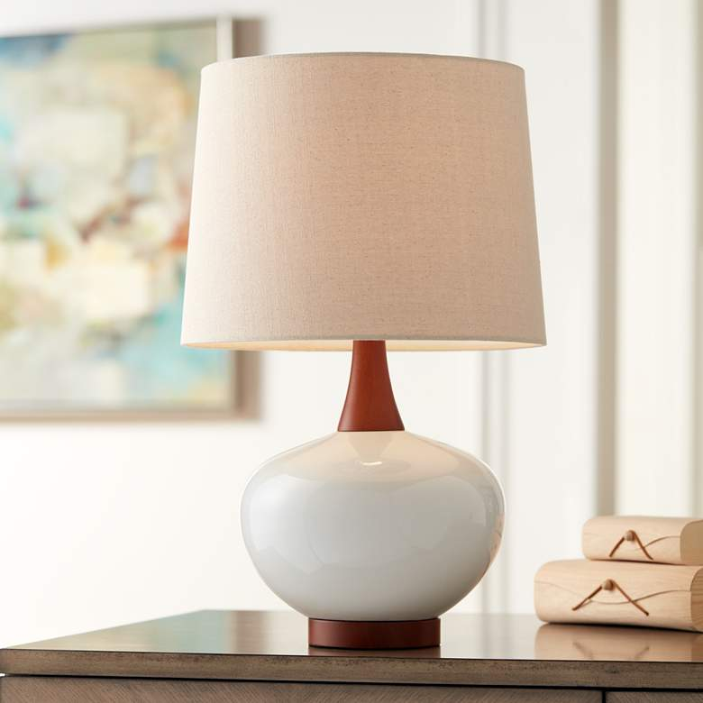 Brice Mid Century Ivory Ceramic Table Lamp In 2020 Mid Century